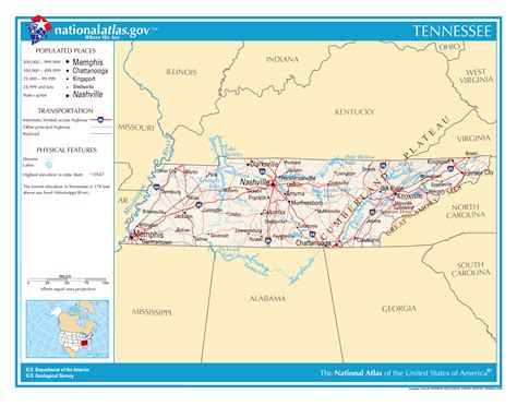 tennessee on the map of usa large detailed map of tennessee state tennessee state