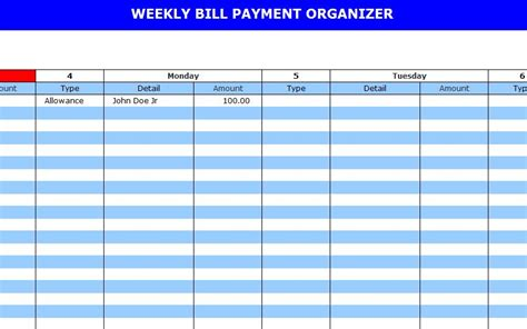 bill payment template large printable bill calendar calendar template 2016