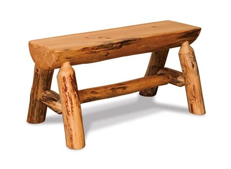 half log bench amish rustic pine half log bench