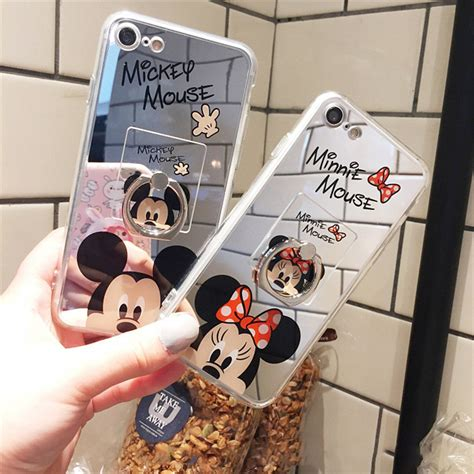 Iphone 6 6s Mirror Cover Hello Stand Holder Casing Cover mirror cases mickey minnie plating stand holder cases for iphone x 6 6s plus 7 7plus 8