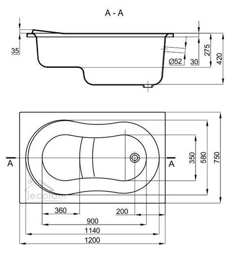Badewanne Sitz badewanne wanne rechteck acryl sitzbadewanne sitz 120 x 75