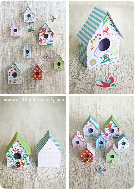 Free Printable 3d Paper Crafts - f 229 gelhus i papper med mall paper birdhouse with template