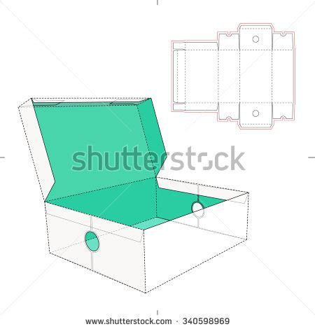 a line lids cut bottle shipping box die cut template stock vector