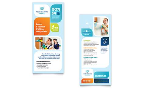 rack card template for pages cleaning services rack card template design
