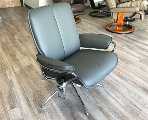 Stressless City Recliner by Stressless City Low Back Batick Grey Chrome Base Leather
