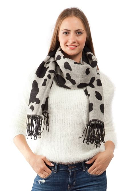 black pattern scarf black and grey pattern scarf with fringe happiness boutique