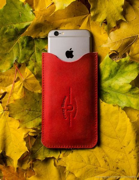 leather iphone case  card pocket autumnred crazy