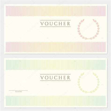 voucher template with colorful stripy pattern and border