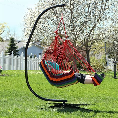 Patio Swing With Footrest Hanging Soft Cushioned Hammock Chair W Footrest
