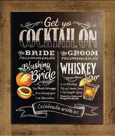 beautiful bridal chalkboard signature cocktail signs