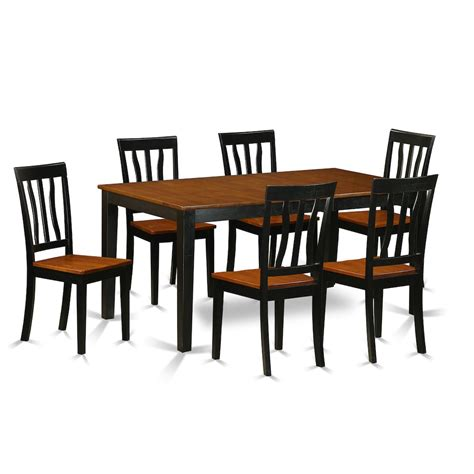 7 pc kitchen table set dining table and 6 wood dining chairs