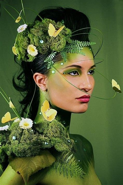 fashion themes related to nature nature inspired fantasy make up look with green gem
