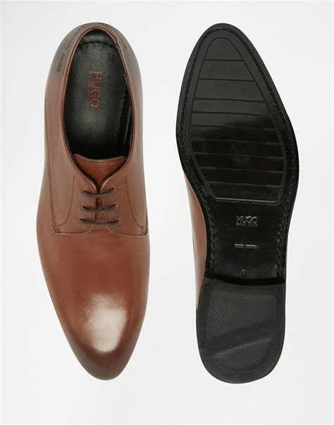 hugo shoes lyst hugo by derby shoes in brown for