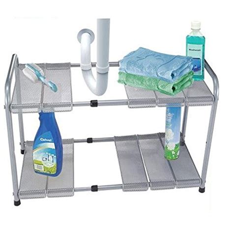 easy home expandable sink shelf 2 tier expandable adjustable sink shelf storage