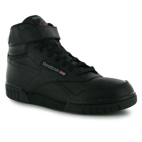 black hi top sneakers mens reebok exofit mens hi top shoes trainers black sneakers