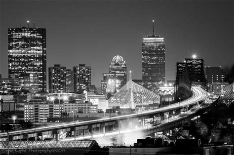 boston city skyline zakim bridge tobin bridge city lights