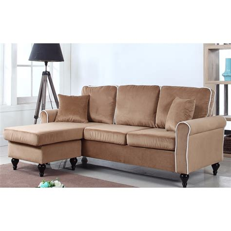 Velvet Sectional Couches by Home Traditional Small Space Velvet Sectional Sofa
