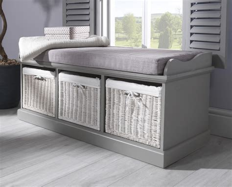 tetbury hall bench tetbury grey storage bench with 3 white baskets