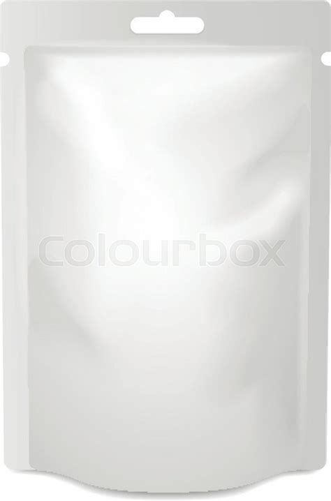 template plastic white blank foil food or drink bag packaging with hang