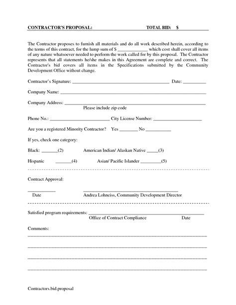 printable blank bid forms scope of work