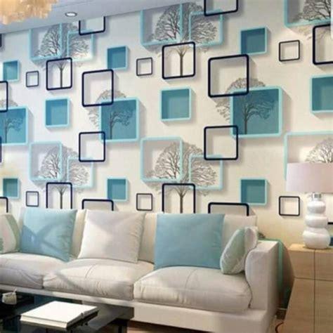 wallpaper dinding motif kotak  dimensi biru shopee