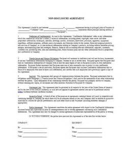 Non Disclosure Agreement Template by 40 Non Disclosure Agreement Templates Sles Forms