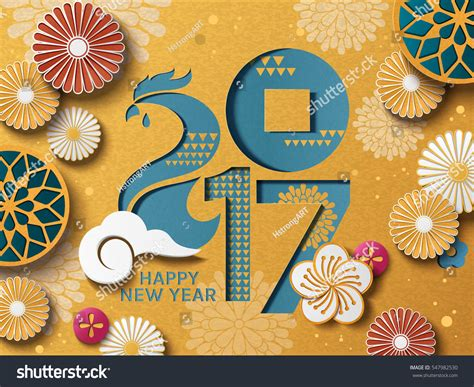 new year paper cutting template 2017 happy new year template floral paper cutting style