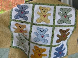 teddy applique d quilt custom order only