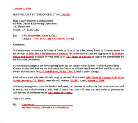 Letter Of Credit With Exle Letter Of Credit Exle 49 Images Doc 690856 Credit Terms Letter Sle Template Bizdoska