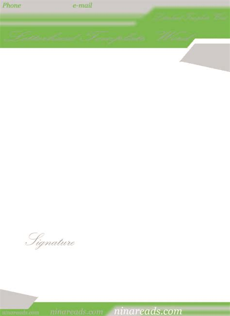 bright green theme letterhead template word 63iubnm
