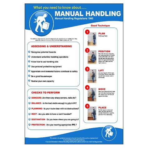 moving and handling certificate templates safe manual handling poster
