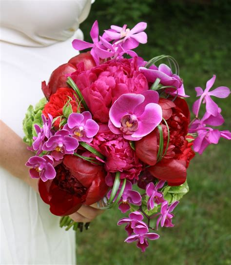 peonies and orchids peony and orchid wedding bouquet onewed