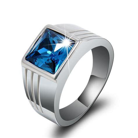 Cincin Blue cincin pria wanita blue sapphire emas putih terpadu elevenia