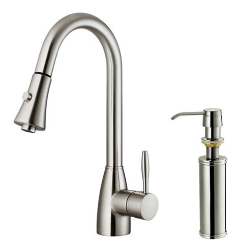 vigo pull out spray kitchen faucet with soap dispenser