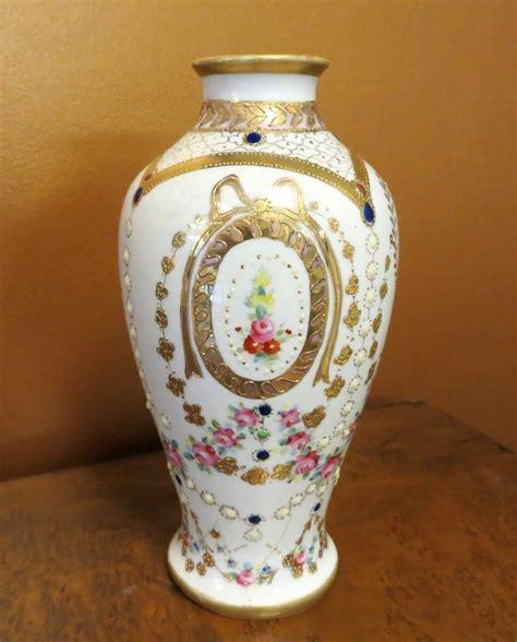 Ornate Vases ornate circa 1920 s jeweled floral enameled nippon vase