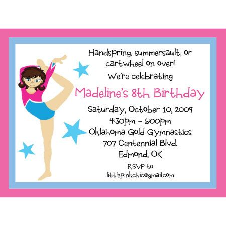 Gymnastics Invitationgymnastics Birthday Invitation Birthday Party Ideas Gymnastics Birthday Invitation Templates