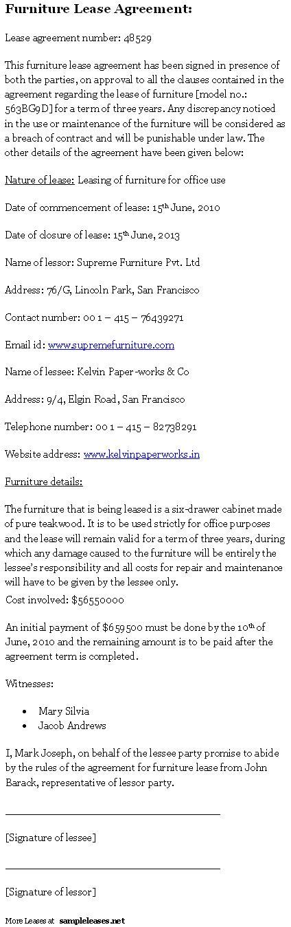 furniture lease agreement sample leases