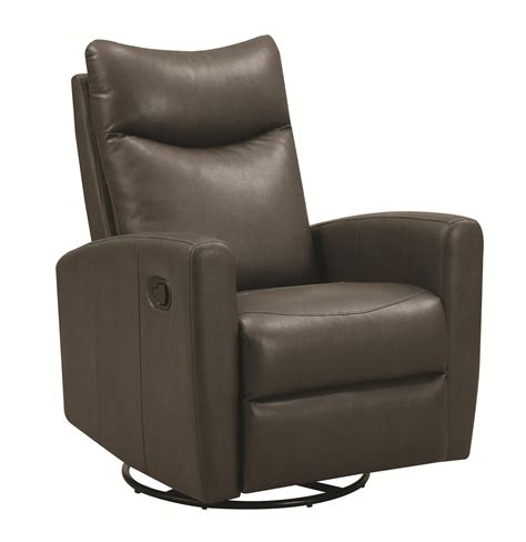 Coaster 600035 Grey Leather Swivel Recliner Steal A Sofa Recliner Swivel Chairs Leather