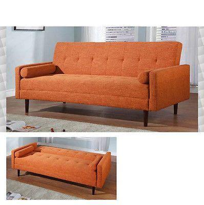 Orange Microfiber Sofa by At Home Usa Chic Modern Kk18 Orange Microfiber Sofa With