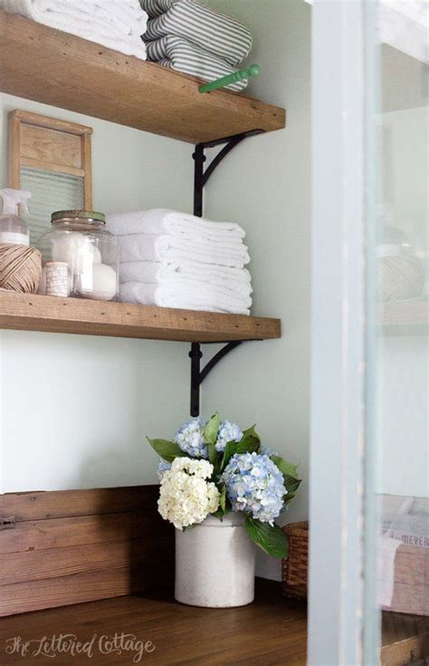 laundry room rustic wood shelves door countertop erin