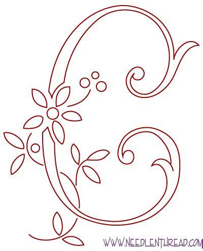 Free Hand Embroidery Pattern Monogram C And Avoiding Satin Stitch Needlenthread Com Monogram Letters Template