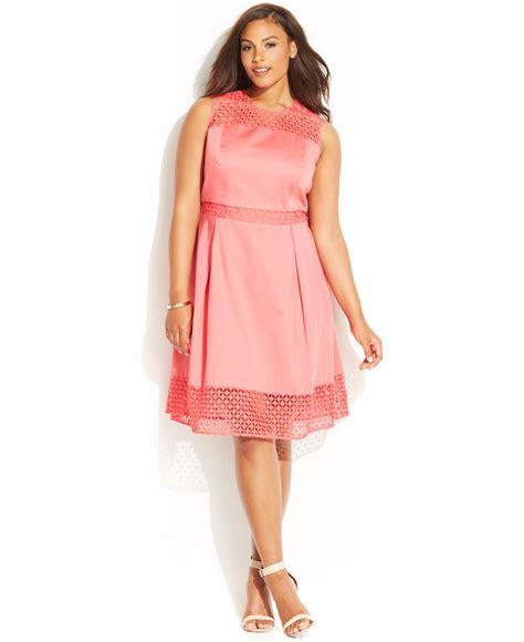 pink plus size dresses calvin klein plus size crochet panel dress in pink lyst