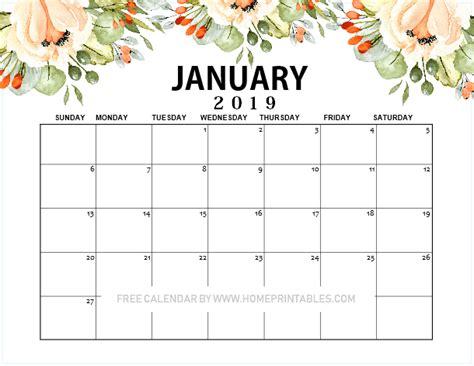 january  calendar printable beautiful floral home