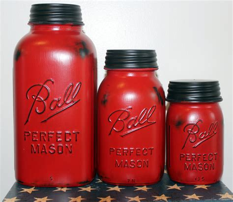 Ceramic Kitchen Canisters 3 piece red mason jar canister set kitchen distressed half