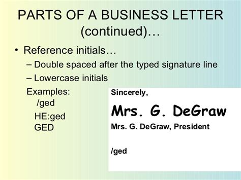 Parts Of Business Letter And Its Definition business letters exles ppt docoments ojazlink