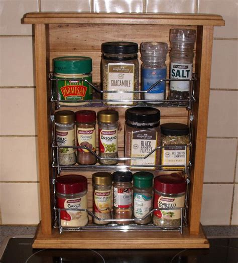 Country Spice Rack country vintage inspired timber wooden spice rack with metal insert new ebay