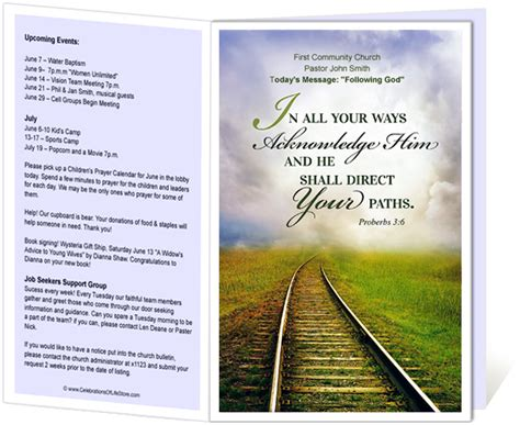 Church Bulletin Templates Railroad Church Bulletin Template With Proverbs 3 6 In All Your Church Program Covers Templates