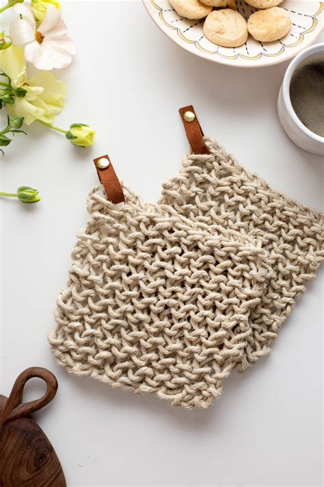 knit potholder pattern knit twine potholder pattern with leather flax twine