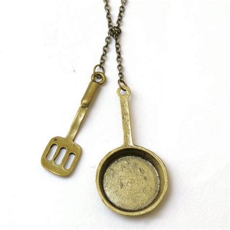chef necklace lariat necklace frying pan necklace