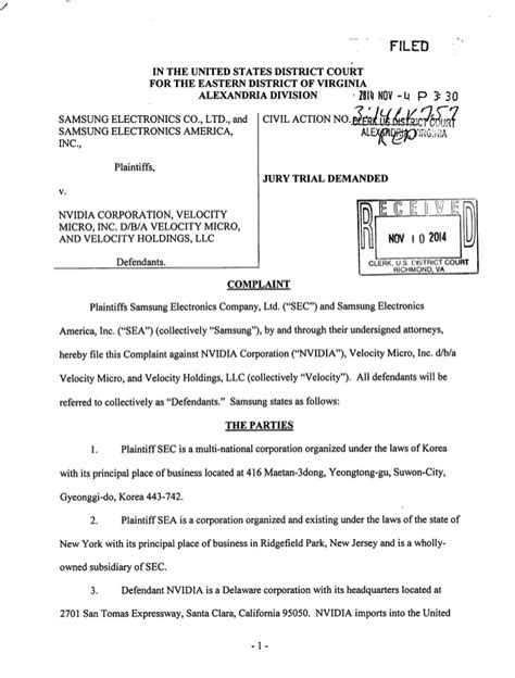 United States District Court Eastern District Of Virginia Search Samsung S Lawsuit Against Nvidia In 2014